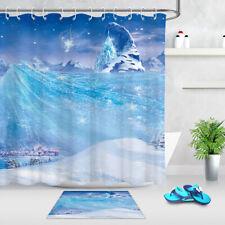 Forest Dreamy Snow Scene Mountain Castle Fabric Shower Curtain Hook Bathroom Mat