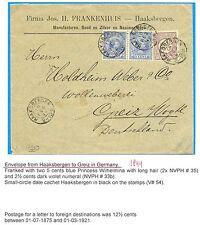NEDERLAND 1899  CV  KR. ST. =HAAKSBERGEN =-   TO  GERMANY    COMBI STAMPS  F/ VF