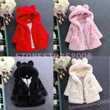 Baby Kids Girls Winter Warm Cute Coat Fleece Fur Jacket Hooded Princess Outwear
