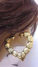 BAMBOO HEART EARRINGS GOLD OR SILVER TONE BAMBOO HEART 3 INCH HOOP EARRINGS