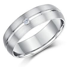 9ct White Gold Diamond Wedding Ring Band Matt & Polished 6mm