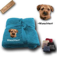 Fleecy Cuddle Blanket Dog Border Terrier+Custom text,Embroidery,70 7/8x51 3/16in