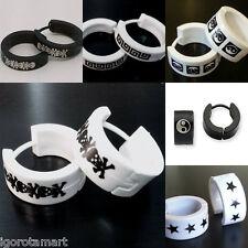 Light Weight Plastic Hoop Huggie Men Round Circle Earrings Jewelry Gift Ear Ring