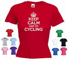 """""""Keep Calm y andar en bicicleta"""" Damas Niñas Divertido Bicicleta Bici Camiseta Tee"""