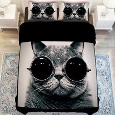 3D Cool Black Cat 808 Bed Pillowcases Quilt Duvet Cover Set Single Queen King CA