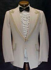Vintage Beige Tan With Braid Trim Polyester Tuxedo Jacket Mens Retro Tux Jacket