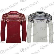 Mens Long Sleeves Knitwear Aztec Knitted Round Neck Sweater Sweatshirt Jumper