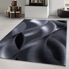 Tapis Design Moderne Shaggy Vagues Abstraites Modèle Noir Gris Blanc
