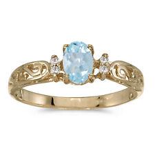 14k Yellow Gold Oval Aquamarine And Diamond Filigree Ring