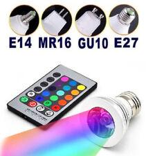 1pc RGB 3W E14 GU10 E27 MR16 LED Spotlight Downlight Ceiling Lamp Bulb IR Remote