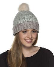 i-Smalls Women's Bonnie Popcorn Knit Beanie Hat with Fur Pom