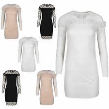 Womens Ladies Polka Dot Keyhole Back Mesh Sleeve Peplum Frill Bodycon Mini Dress