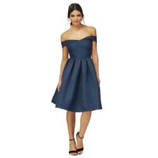 Chi Chi London Knee Length Prom Occasion Bardot  Dress  10  Navy