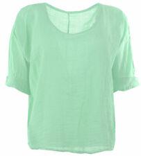 Womens Italian Plain Linen Crop Top Ladies Blouse Lagenlook Top Plus Sizes 18-22