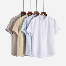 fashion summer cotton linen short sleeve shirt mens slim comfort casual tshirts