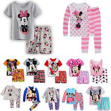 Kids Girls Boy Mickey Minnie Mouse Pyjamas 2Pcs T-Shirt Shorts Set Sleepwear Top