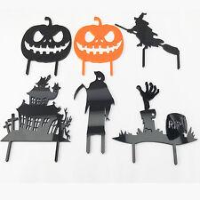 Halloween Cake Topper Witch Graveyard House Pumpkin Grim Reaper Silihouete