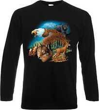 Maniche lunghe/Camicia A Maniche Lunghe in nero T-shirt con uno Stampa animale