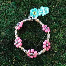 HOTI Hemp Handmade Natural Pink Flower Wood Beaded Floral Anklet Ankle Bracelet
