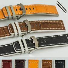 Calidad Moderno De Cuero Genuino Mock Croc reloj banda correa 14mm-24mm Hebilla De Acero