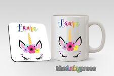 Personalised Unicorn Mug And Coaster Set Gift Pretty Rainbow Add Any Name