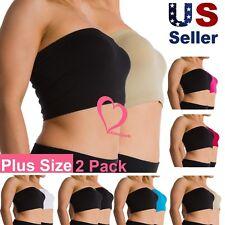 2 Pack Women Plus Size Seamless Strapless Bandeau Bra Tube Top Sports Bra XL-4X