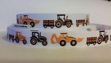 "Grosgrain Ribbon, Tractor & Hay Wagon, Loader Construction Equipment, 7/8"" Wide"