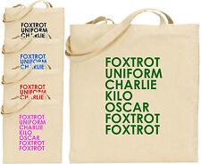 Foxtrot Uniforme Charlie Grande Cotton Tote Bolsa Regalo Divertido Navidad