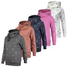ONLY Damen Sweatshirt Sweater Pulli allover Glitzer Sterne Print Kängurutasche