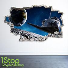 Navette spatiale autocollant mural 3D look-lune planète galaxie étoiles garçons chambre à coucher Z37
