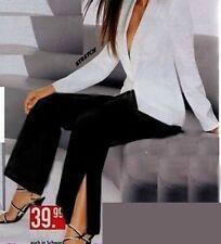 ♥ stylische Damen Business Stoff Hose Bein geschlitzt 34 36 38 40 NEU SCHWARZ