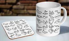Awesome Racing Circuit Tracks F1 GP  Tea - Coffee Ceramic Mug Coaster Gift Set