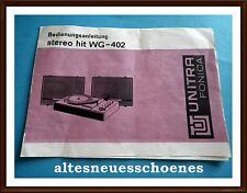 originale Bedienungsanleitung -stereo hit WG-402 Plattenspieler Unitra Fonica