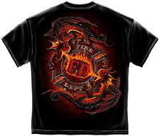 FIREFIGHTER T-SHIRT FIREMEN FIRE RESCUE YIN YANG FIRE DEPT DRAGON S-3XL MENS