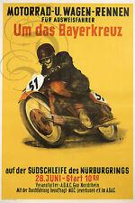 PLAQUE ALU REPRODUISANT UNE AFFICHE MOTO ALLEMANDE 1953 NURBURGRING