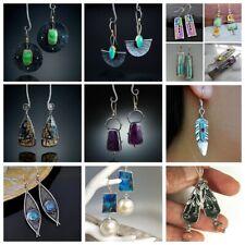 Bohemian Opal Emerald Dangle Hook Earrings Silver Vintage Wedding Jewelry Gifts