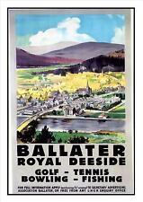 Ballater Royal Deeside Golf Tennis Fishing Poster Advert Aberdeenshire Scotland