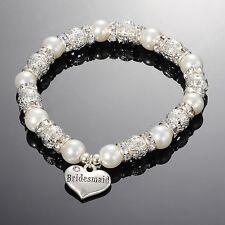 White Glass Pearl & Rhinestone Heart Wedding Charm Bracelet,Choice of 10 Designs