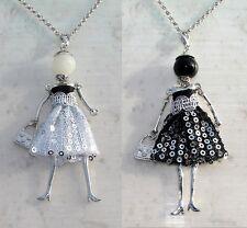 Bambola collana paillettes perla,Bambolina,donna,collezione 2017 (GL68)