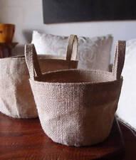Round Burlap Jute Planter Gusseted Bag Liner Handles for Pots - ONE Choose Size