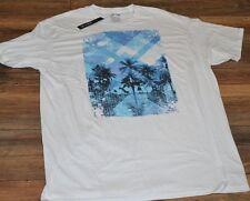 Apt 9 Mens Graphic Tee Crew Neck Palm Trees Men's White Tee T-Shirt