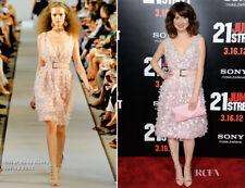$5150 NEW Oscar de la Renta Organza Flower  Applique Deep V Dress Pale Pink 4