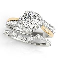 1.25 Ct. Halo Two Tone Diamond Engagement Bridal Ring Set 14K Yellow&White Gold