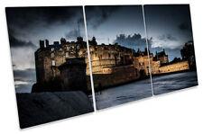 Edinburgh Castle Night Picture CANVAS WALL ART TREBLE Print