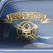 Firefighter crossbones decal - firefighting fireman firemen skull badge sticker