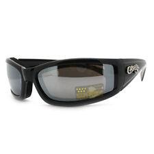 Semi Goggle Sunglasses Choppers Bikers Foam Padded Wrap Around Matt BLACK
