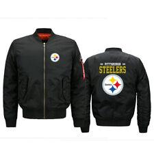 Men's Pittsburgh Steelers Pilot Bomber Jacket Flying Tigers Flight Thicken Coat