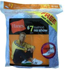"""Hanes 7 paris Men NOSHOW white socks fit shoe size 6-12 """"DOUBLE CUSHION BOTTOM"""""""
