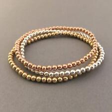 Lady 14k Gold Plated 4MM Beads Beaded Stack Bracelets Women Bohemian Jewelry