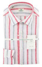 New $450 Luigi Borrelli White Striped Shirt - Extra Slim - (L1222171)